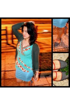 green top - dark green D&M cardigan - turquoise blue cotton on skirt