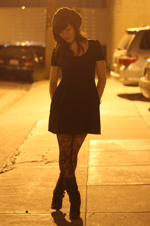 black lux uo dress - black Express tights - Metropark - gray boots Steve Madden