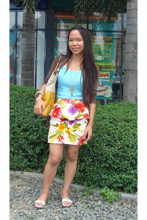Bayo bag - Meg cardigan - Forever 21 skirt - baby blue sando Forever 21 top - vn
