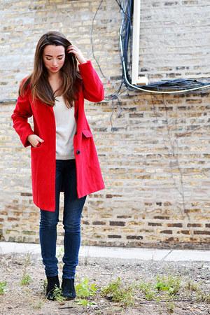red Old Navy coat - black sam edelman boots - blue rewind jeans