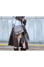 Dark-brown-thrifted-bakers-boots-heather-gray-liz-claiborne-purse