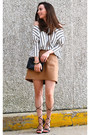 Camel-gap-skirt-black-bakers-heels-white-notations-top