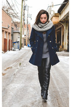 navy peacoat vintage coat - black Marc Fisher boots