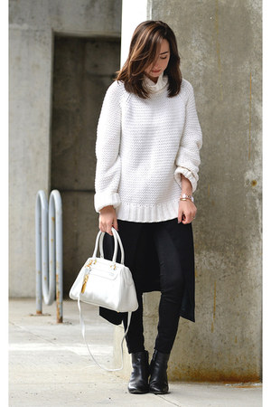 black ankle boots Dolce Vita boots - white thrifted knit ann taylor sweater