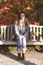 gray Burberry scarf - brown Zara boots - light blue JCrew jeans