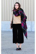 camel thrifted Bachrach sweater - ruby red blanket scarf asos scarf