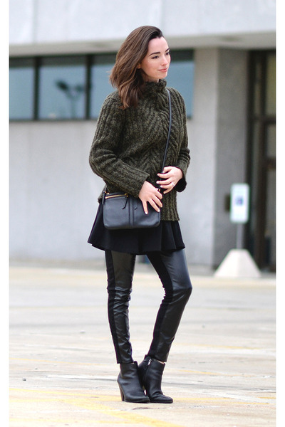 army green thrifted wool Ivory sweater - black Dolce Vita boots