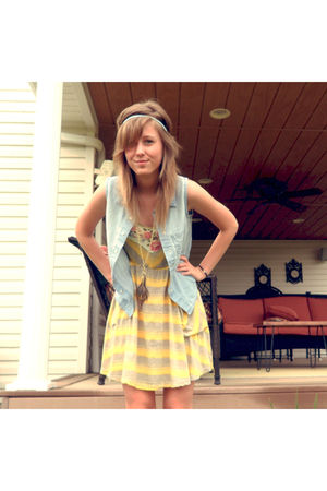 gold Scrapbook dress - blue Urban Outfitters blouse
