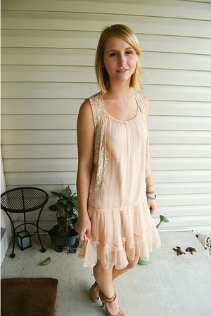 pink laundry dress - beige Urban Outfitters vest - beige Zigi Soho shoes