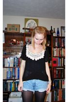 black Charlotte Russe blouse - blue Thrifted DIY studs jeans - black random tigh