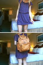 brown Forever 21 dress - thrifted bag