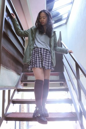 Forever 21 skirt - cut out The Style Club boots - anorak Forever 21 jacket