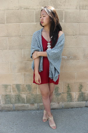 gray cardigan Tillys cardigan - burgundy romper PERSUNMALL dress