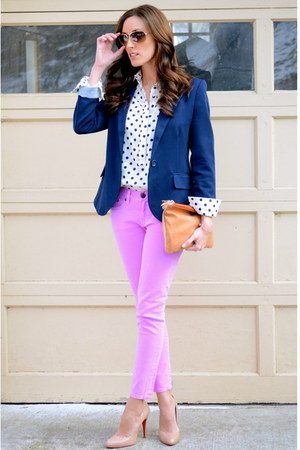 navy boyfriend Forever 21 blazer - JCrew jeans - Anthropologie bag