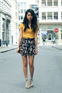 black floral culottes Urban Outfitters shorts - orange Forever 21 shirt
