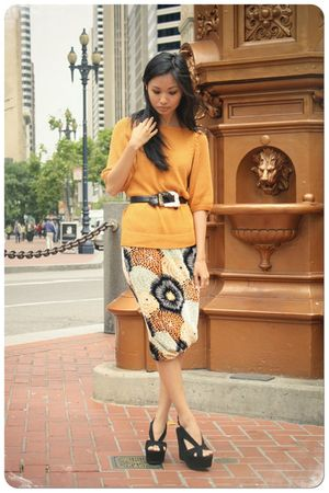 orange Missoni skirt - black Jeffrey Campbell shoes - orange vintage sweater