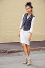 gray Zara dress - gray Jeffrey Campbell shoes - blue Forever 21 vest