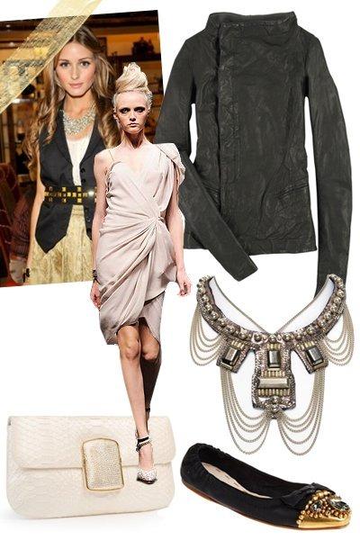 black Rick Owens jacket - beige lanvin dress - black Miu Miu shoes - white Kara