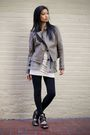 brown Urban Outfitters jacket - black vintage vest - beige Urban Outfitters dres