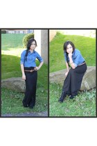 black maxi skirt - boots - metallic bracelet - camel color belt