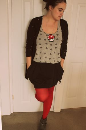 red Marks & Spencer tights - black asos skirt - gray new look vest - black new l