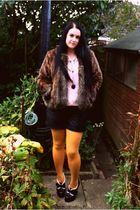 yellow asos tights - black asos shorts - pink tesco blouse - brown Marks & Spenc