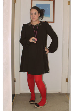 black Topshop dress - beige Dorothy Perkins shoes - red Marks & Spencer tights