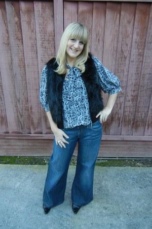 banana republic boots - Miss Sixty jeans - H&M vest - amanda uprichard blouse