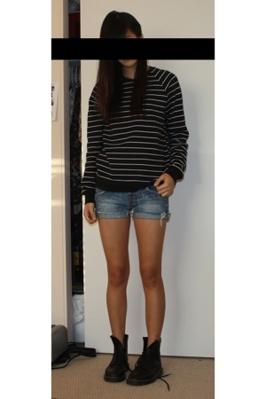 American Apparel sweater - Charlotte Russe shorts - doc martens boots