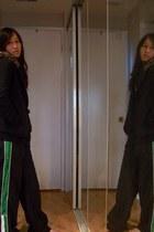black Roxy jacket - off white Old Navy shirt - black basketball unknown pants
