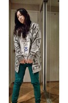 heather gray H&M hoodie - teal skinny Love Culture jeans