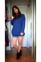 blue mens Forever 21 sweater - navy denim BDG shorts