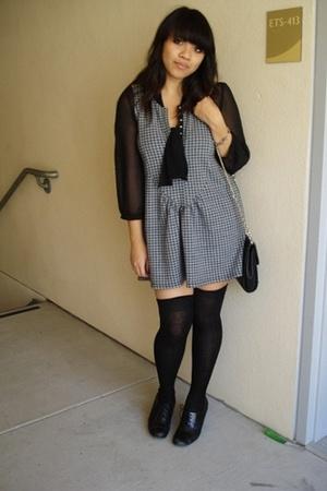 black blouse black Gap blouse - black oxfords Style & Co shoes - gray Lux dress