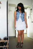 thrifted dress - thrifted vest - Steve Madden shoes