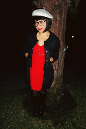 black coat Metropark coat - Nine West boots - red dress FlatBack dress
