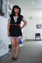brown belt thrift belt - brown shoes shoes - white romper thrift dress
