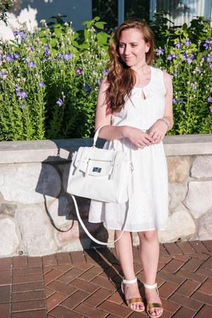 white Rickis dress - white JustFab bag - white JustFab sandals
