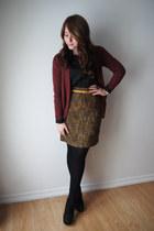 H&M cardigan - tweed Nordstrom Rack skirt - Urban Planet blouse - H&M belt