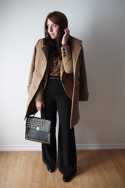 Suzy Shier sweater - Forever 21 coat - Suzy Shier blazer - Shoedazzle bag