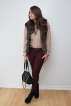 faux fur Urban Planet vest - Suzy Shier blouse - Urban Planet pants