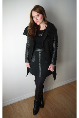 black JustFab boots - black leather sleeves H&M coat - black Suzy Shier sweater