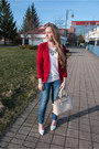 Red-quilted-rickis-blazer-off-white-christian-lacroix-bag