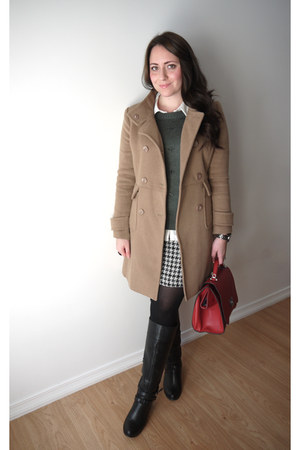 houndstooth Suzy Shier skirt - JustFab boots - forver 21 coat