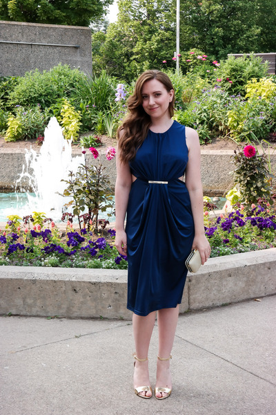 clutch Ardene bag - navy cut out asos dress - calvin klein heels
