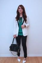 white Forever 21 blazer - black snakeskin H&M jeans - Forever 21 top
