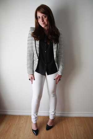 stripes Forever 21 blazer - skinny Urban Planet jeans - Urban Planet blouse