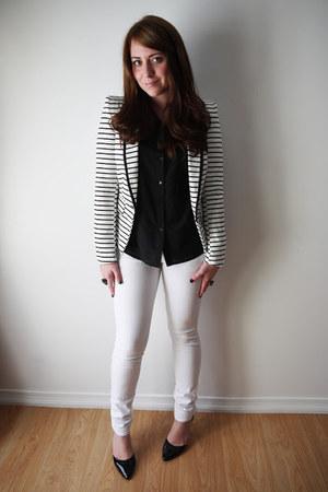 stripes Forever 21 blazer - skinny Urban Planet jeans - Urban Planet blouse