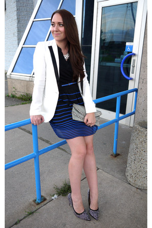 tuxedo Forever 21 blazer - striped Maurices skirt - studded Shoedazzle heels
