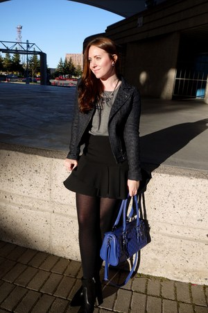 black ankle boots JustFab boots - blue boucle Rickis blazer