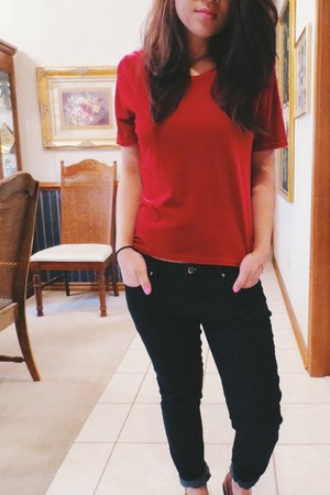 velvet thrifted top - skinny jeans Forever 21 jeans - thrifted vintage loafers